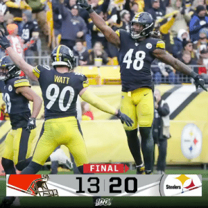 FINAL: The @steelers improve to 7-5! #CLEvsPIT https://t.co/ni3RGXeRIN: 48  90  WATT  90  FINAL  13 20  Steelers  190 FINAL: The @steelers improve to 7-5! #CLEvsPIT https://t.co/ni3RGXeRIN