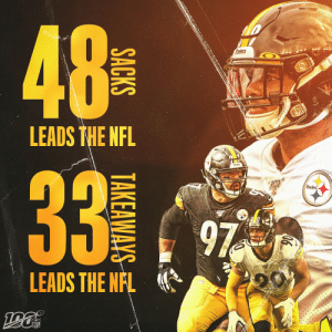 The return of the Steel Curtain. 💪  @steelers | #HereWeGo  📺: #BUFvsPIT -- TOMORROW 8:20pm ET on NBC 📱: NFL app // Yahoo Sports app https://t.co/H3scHWTTMF: 48  NO  alers  LEADS THE NFL  Steeers  33  Steelers  97  LEADS THE NFL  NFL  ((4)  SACKS  TAKEAWAYS The return of the Steel Curtain. 💪  @steelers | #HereWeGo  📺: #BUFvsPIT -- TOMORROW 8:20pm ET on NBC 📱: NFL app // Yahoo Sports app https://t.co/H3scHWTTMF