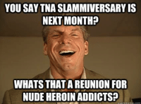Havent made a meme in a while thought id Contribute. -Nekro G: YOU SAY TNA SLAMMIVERSARYIS  NEXT MONTH?  WHATS THAT AREUNION FOR  NUDE HEROIN ADDICTS? Havent made a meme in a while thought id Contribute. -Nekro G