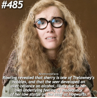 QOTD: Did you know this fact? Comment a 🍷if you did and a 🍒 if you didn't! Check out @forevermaddy_ @hpfashion934 💓:  #485  ACTS  owling revealed that sherry is one of Trelawney's  hobbies, and that the seer developed an  over-reliance on alcohol, likely due to hel  own underlying feeling of inadequacy  of her low status on the stajat Hogwakts. QOTD: Did you know this fact? Comment a 🍷if you did and a 🍒 if you didn't! Check out @forevermaddy_ @hpfashion934 💓