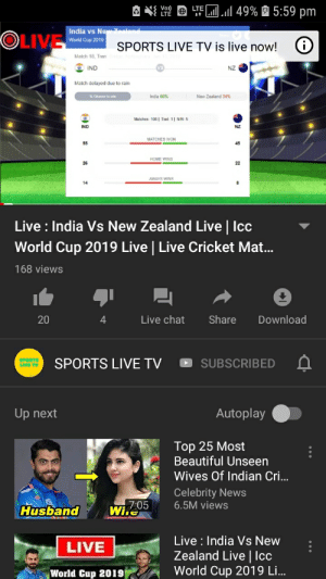 I think channels are paying YouTube for subs first I was suscribed to t-series and now this channel for world cup to gain more views: 49%5:59 pm  ALTE  India vs New Zealend  OLIVE  World Cup 2019  SPORTS LIVE TV is live now!  Match 18, Tren  IND  NZ  Match delayed due to rain  New Zealand 34 %  Matches 106 Tied 11 N/R 5  NZ  MATCHES WON  45  22  Live: India Vs New Zealand Live | Icc  World Cup 2019 Live | Live Cricket Mat...  168 views  Live chat  Share  Download  20  4  SPORTS LIVE TV  SUBSCRIBED  Autoplay  Up next  Top 25 Most  Beautiful Unseen  Wives Of Indian Cri...  Celebrity News  6.5M views  7:05  Wiie  Husband  Live: India Vs New  Zealand Live|Icc  World Cup 2019 Li...  LIVE  World Cup 2019| I think channels are paying YouTube for subs first I was suscribed to t-series and now this channel for world cup to gain more views