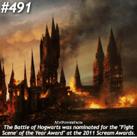 """Memes, Scream, and 🤖:  #491  MYPOT TRFACTS  The Battle of Hogwarts was nominated for the """"Fight  Scene of the Year Award"""" at the 2011 Scream Awards. Comment a 🔥 and tag a friend if you think this fact is cool! 🔎 You can also find me on @forevermaddy_ and @hpfashion934."""