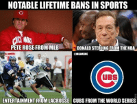 Poor ‪#‎Cubs‬: NOTABLE LIFETIME BANS IN SPORTS  PETE ROSE FROM MLB  DONALD STERLING FROM THE NBA  @MLBIMEME  UBS  ENTERTAINMENT FROMLACROSSE CUBS FROM THEWORLD SERIES Poor ‪#‎Cubs‬