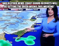 """They're gonna have to re-name it """"Cape D"""".  Thanks to all of you that flooded our inbox with this!: ANDIN OTHER NEWS COASTGUARDRECRUITSWILL  A BEGETTING THE GREENWEENIETHIS wEEKEND""""  RAIN  MIXED  SNOW  MOUNT POCONO  ALLENTOW  DOYLESTOWN  NG  TRENT  POTTSTOWN  NE.  PHILADELPHIA  MT HOLLY  OMS RIVE  MIN  MILLVILLE  ANTIC CITY  CAPE  ES They're gonna have to re-name it """"Cape D"""".  Thanks to all of you that flooded our inbox with this!"""