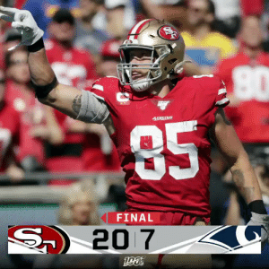 FINAL: The @49ers defeat the Rams to move to 5-0! #SFvsLAR #GoNiners https://t.co/aQJzrLbxCa: 49ERS  85  FINAL  S20 7 FINAL: The @49ers defeat the Rams to move to 5-0! #SFvsLAR #GoNiners https://t.co/aQJzrLbxCa