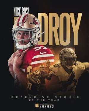 .@49ers DE Nick Bosa is the 2019 Defensive Rookie of the Year! @nbsmallerbear   📺: #NFLHonors | 8pm ET on FOX https://t.co/YW9NAQ3uyf: .@49ers DE Nick Bosa is the 2019 Defensive Rookie of the Year! @nbsmallerbear   📺: #NFLHonors | 8pm ET on FOX https://t.co/YW9NAQ3uyf