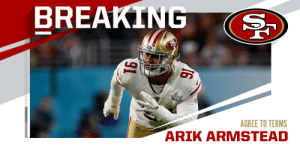 49ers, DL Arik Armstead agree to five-year deal worth up to $85M. (via @RapSheet) https://t.co/WaTDFDxdkJ: 49ers, DL Arik Armstead agree to five-year deal worth up to $85M. (via @RapSheet) https://t.co/WaTDFDxdkJ