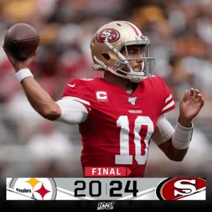 A back-and-forth battle in San Francisco and the undefeated @49ers come out on top! #PITvsSF https://t.co/mVDHdCXuLU: 49ERS  FINAL  20 24 (S  Steelers A back-and-forth battle in San Francisco and the undefeated @49ers come out on top! #PITvsSF https://t.co/mVDHdCXuLU