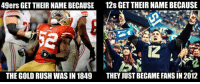 San Francisco 49ers, Memes, and Nfl: 49ers GET THEIR NAME BECAUSE 12s GETTHEIRNAMEBECAUSE  THE GOLD RUSH WAS IN 1849  THEY JUST BECAME FANS IN 2012 I mean... Credit: Travis Fetchko | LIKE NFL Memes!