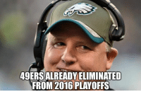 San Francisco 49ers, Chip Kelly, and Head: 49ERSALREADYELIMINATED  FROM 2016 PLAYOFFS Well, it's official. The 49ers have signed Chip Kelly as their new head coach Credit: Tim Grasty II | LIKE NFL Memes