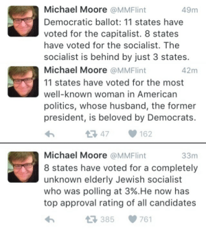 "Politics, Tumblr, and American: 49m  Michael Moore @MMFlint  Democratic ballot: 11 states have  voted for the capitalist. 8 states  have voted for the socialist. The  socialist is behind by just 3 states.   Michael Moore @MMFlint  11 states have voted for the most  well-known woman in American  politics, whose husband, the former  president, is beloved by Democrats.  42m  147162   Michael Moore @MMFlint  8 states have voted for a completely  unknown elderly Jewish socialist  who was polling at 3%""He now has  top approval rating of all candidates  33m  385761 thesanderstans:  Perspective.  A virtually unknown 74 year old socialist chipped away at one of the most famous female politician of all times 50 point lead  Amazing"