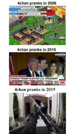 4chan, Donald Trump, and News: 4chan pranks in 2006  4chan pranks in 2016  240 AM E  BREAKING NEWS  DONALD TRUMP ELECTED U.S. PRESIDENT  I M 5  4chan pranks in 2019 Well, that escalated quickly
