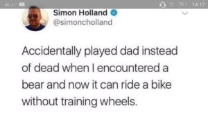 Dad, Yeah, and Bear: 4G וו  14:17  54  Simon Holland  @simoncholland  Accidentally played dad instead  of dead when I encountered a  bear and now it can ride a bike  without training wheels. Yeah the bear was like *bear sounds* via /r/wholesomememes https://ift.tt/2VhP7Ly
