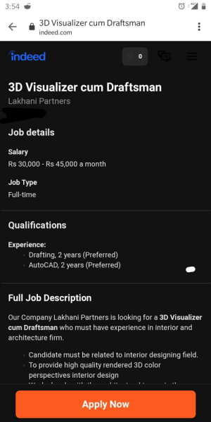 4g 354 3d Visualizer Cum Draftsman Indeedcom Indeed 3d Visualizer Cum Draftsman Lakhani Partners Job Details Salary Rs 30000 Rs 45000 A Month Job Type Full Time Qualifications Experience Drafting 2 Years