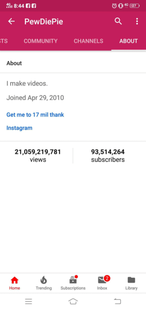 Can't argue with this discription: 4G, 8:44  4G  < PewDiePie  TS  COMMUNITY  CHANNELS  ABOUT  About  l make videos.  Joined Apr 29, 2010  Get me to 17 mil thank  Instagram  21,059,219,781  views  93,514,264  subscribers  2  Home  Trending Subscriptions  Inbox  Library Can't argue with this discription