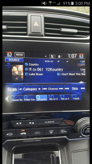 Interesting name for a song: 4G  91%  5:00 PM  63  MENU  1:07 63  NO  Y  SOURCE  SFON CH  24  FF  Country  Y2KOUNTRY  SiriusXm  LUKE  S CH 061 Y2Kountry  Luke Bryan  Live  I Don't Want This Nig  Skip  Channel  Scan  Category  Pop2K  90s on 9  80s on 8  Classic Re Prime Cou Y2Kountry  CLIMATE  $A  REAR  PUSH  FRONT  SYN  P  Se ON  OFF  PASSENGER AIRBAG Interesting name for a song