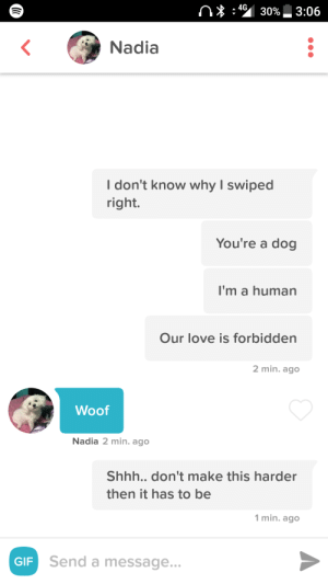 And they call it puppy love: 4G  Nadia  I don't know why I swiped  right.  You're a dog  I'm a human  Our love is forbidden  2 min. ago  Woof  Nadia 2 min. ago  Shhh..don't make this harder  then it has to be  1 min. ago  GIF  Send a message And they call it puppy love