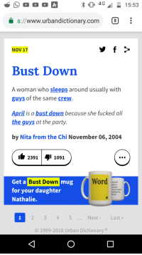 urbandictionary.com: 4G15:53  1  s://www.urbandictionary.com 8  NOV 17  Bust Down  A woman who sleeps around usually with  guys of the same crew  April is a bust down because she fucked all  the guys at the party.  by Nita from the Chi November 06, 2004  2391  1091  mug  Word  Get a  for your daughter  Nathalie.  Bust Down  well said  aid in a  be used as  reeting, hey  ats up  2 345  NextLast»  O 1999-2018 Urban Dictionary