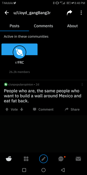 T-Mobile, Mexico, and Mobile: 4GLTE  T-Mobile  8:48 PM  37  <u/Lloyd_gangBang3r  About  Posts  Comments  Active in these communities  r/FRC  26.2k members  r/unpopularopinion 2d  People who are, the same people who  want to build a wall around Mexico and  eat fat back.  Share  Vote  Comment Eat fat back