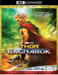 """THOR: RAGNAROK is set to be released on Blu-ray/DVD on March 6th!  (Andrew Gifford): 4K L  LTRAHP  4K  ULT R A-D-+ BLU-RAY ,M+ DIGITAL  THE MOST FUN  JOU'LL EVER HAVE AT  A MARVEL MOVIE""""  - Peter Travers, Rolling Stone  MARVEL STUDIOS  THOR  PLAYS  ANYWHERE  CINE M A TIC UNIVERSE E DITION THOR: RAGNAROK is set to be released on Blu-ray/DVD on March 6th!  (Andrew Gifford)"""