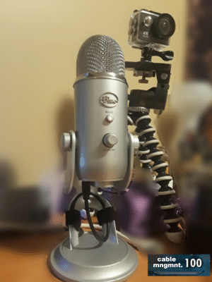 Mute, Best, and Blue: 4K  MUTE  CMWME  cable  mngmnt. 100 This is THE BEST way to cable manage a Blue Yeti mic