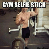 Selfies done right.: GYM SELFIE STICK  bodybuilding humour  Make a Meme Selfies done right.