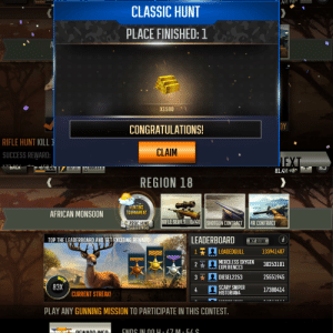 Deer, Hunting, and Congratulations: .4M  CLASSIC HUNT  PLACE FINISHED: 1  A  X1500  DY  CONGRATULATIONS!  RIFLE HUNT KILL 1  CLAIM  SUCCESS REWARD:  177 1  DACK  U/10  QUESTS  81.4M  REGION 18  HUNTING  TOURNAMENT  AFRICAN MONSOON  RIFLE SERIES  0/40||SHOTGUN CONTRACT  AR CONTRACT  CLASSIC HUNT  Ends in 47M 54S  LEADERBOARD  TOP THE LEADERBOARD AND GET EXCITING REWARD  i  MY RANK  1 LOADEDGULL  133941407  MERCILESS OXYGEN  EXPERIENCE3  30253101  2  3 DIESEL2253  25551945  83X  SCARY SNIPER  HISTORIAN4  17380414  4  CURRENT STREAK!  PLAY ANY GUNNING MISSION TO PARTICIPATE IN THIS CONTEST.  ENNC IN NN u. Z7 M.5/ S  DEWADD INCO. I scored 1st place in the latest Hunting Tournament on Deer Hunter 2018. Ended the event with a 83x multiplier.