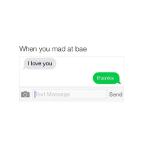 Bae, Love, and Texting: When you mad at bae  I love you  O Text Message  thanks  Send idk why but i like the green text bubbles better than the blue imessage ones