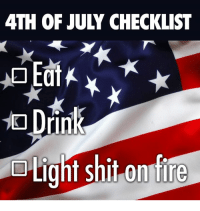 fourth of july: 4TH OF JULY CHECKLIST  iN  Light shit onfire
