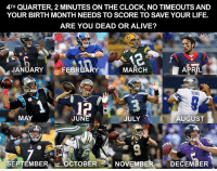 ???: 4TH QUARTER, 2 MINUTES ON THE CLOCK, NO TIMEOUTS AND  YOUR BIRTH MONTH NEEDS TO SCORE TO SAVE YOUR LIFE.  ARE YOU DEAD OR ALIVE?  NFT  EMES  JANUARY  MARCH  APRIL  FEBRUARY  RAND  MAY  JUN  JULY  AUGUST  SEP EMBER OCTOBER  NOVEMBER  DECEMBER ???
