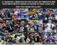 🤔: 4TH QUARTER, 2 MINUTES ON THE CLOCK, NO TIMEOUTS AND  YOUR BIRTH MONTH NEEDS TO SCORE TO SAVE YOUR LIFE.  ARE YOU DEAD OR ALIVE?  flmemes ig  JANUARY  MARCH  FEBRUARY  RUND  MAY  JUNE  JULY  AUGUST  SEPTEMBER  OCTOBER  NOVEMBER  DECEMBER 🤔