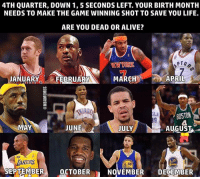 😂 nba nbamemes: 4TH QUARTER, DOWN 1, 5 SECONDS LEFT. YOUR BIRTH MONTH  NEEDS TO MAKE THE GAME WINNING SHOT TO SAVE YOU LIFE.  ARE YOU DEAD OR ALIVE?  PTO  APRIL  JANUARY  FEBRUARY  MARC  BOSTON  MAY  JUNE  JULY  AUGUST  30  SEPTEMBER  OCTOBER  n NOVEMBER  DECEMBER 😂 nba nbamemes