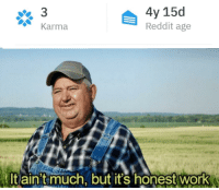 Reddit, Work, and Karma: 4y 15d  Reddit age  Karma  tltain timuch, but it's honest work It ain't much, but it is what it is