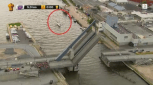 Finish Line, Race, and Bike: 5,0 km  0:00 t Bike race ruined when bridge raises to let a sail boat through just before finish line.