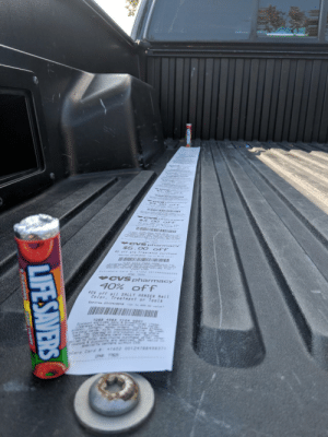 Bought 2 Lifesavers at CVS and the receipt was almost as long as my truck bed: $$5 00 OFF  77074  CVS pharmacy  40% off  40% off all SALLY HANSEN Nail  Color, Treataent or Tools  I IN  7283 4983 7104 ogo1  *1602 00124788498371  d Bought 2 Lifesavers at CVS and the receipt was almost as long as my truck bed