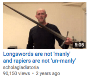 darthanonymous:  transmothwoman: youtube Swordman standing up to gender roles  while you were living under gender roles, i studied the blade : 5:05  Longswords are not 'manly  and rapiers are not 'un-manly  scholagladiatoria  90,150 views 2 years ago darthanonymous:  transmothwoman: youtube Swordman standing up to gender roles  while you were living under gender roles, i studied the blade