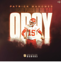 Kansas City @Chiefs QB @PatrickMahomes5 is the 2018 Offensive Player of the Year! #NFLHonors (by @microsoft) https://t.co/x1cwixLpcY: 5,097 PASSING YARDS 50 TD PASSES 113.8 PASSER RATING  P AT RICK M A H O M E S  E PLAVER OF THE YEAR  NATIONAL FOOTBALL LEAGUE  HONORS Kansas City @Chiefs QB @PatrickMahomes5 is the 2018 Offensive Player of the Year! #NFLHonors (by @microsoft) https://t.co/x1cwixLpcY