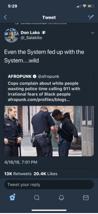 """Blackpeopletwitter, Police, and White People: 5:29  Tweet  O A Don LakoI  _Salakito  Even the System fed up with the  System...wild  AFROPUNK @afropunk  Cops complain about white people  wasting police time calling 911 with  irrational fears of Black people  afropunk.com/profiles/blogs...  4/18/18, 7:01 PM  13K Retweets 20.4K Likes  Tweet your reply <p>""""Irrational fear"""" (via /r/BlackPeopleTwitter)</p>"""