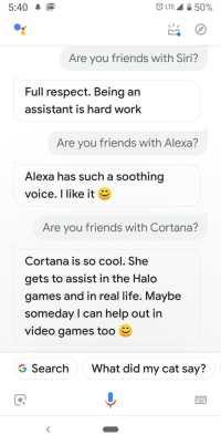 Friends, Funny, and Halo: 5:40M  LTE 50%  Are you friends with Siri?  Full respect. Being an  assistant is hard work  Are you friends with Alexa?  Alexa has such a soothing  voice. I like it  Are you friends with Cortana?  Cortana is so cool. She  gets to assist in the Halo  games and in real life. Maybe  someday l can help out in  video games too  G Search  What did my cat say?