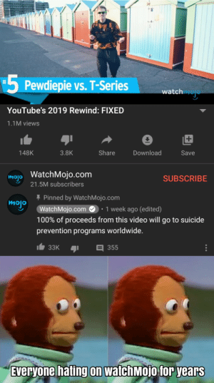 I just woke up from hibernation: -5  5 Pewdiepie vs. T-Series  watch  YouTube's 2019 Rewind: FIXED  1.1M views  Share  148K  3.8K  Download  Save  mojo WatchMojo.com  SUBSCRIBE  21.5M subscribers  + Pinned by WatchMojo.com  WatchMojo.com O: 1 week ago (edited)  mojo  100% of proceeds from this video will go to suicide  prevention programs worldwide.  33K  355  Everyone hating on watchMojo for years I just woke up from hibernation