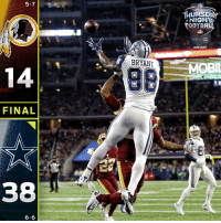Football, Memes, and Video: 5-7  HURSD  NIGH  FOOTBALL  STREAMPrime  IVE video  BUD LIGHT  BRYANTMe  OBI  FINAL  38  6-6 FINAL: The @dallascowboys dominate the NFC East matchup! #dallascowboys  #WASvsDAL #TNF https://t.co/fnSkEiYvPD