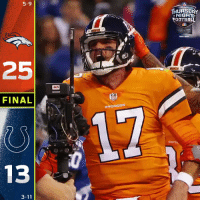 Memes, Broncos, and 🤖: 5-9  THURSOA  NIGH  OOTBAL  BUDLIGT  25  FINAL  BRONCOS  17  13  3-11 FINAL: @Broncos get the win in Indy! #BroncosCountry  #DENvsIND https://t.co/3TMEZw3iSZ