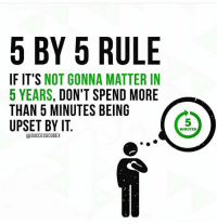 More, Upset, and Gonna: 5 BY 5 RULE  IF IT'S NOT GONNA MATTER IN  5 YEARS, DON'T SPEND MORE  THAN 5 MINUTES BEING  UPSET BY IT  5  MINUTES  ESUCCESSCODEX