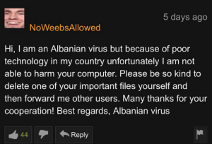 Reddit, Best, and Computer: 5 days ago  NoWeebsAllowed  Hi, I am an Albanian virus but because of poor  technology in my country unfortunately I  able to harm your computer. Please be so kind to  delete one of your important files yourself and  then forward me other users. Many thanks for your  cooperation! Best regards, Albanian virus  44  Reply old but gold
