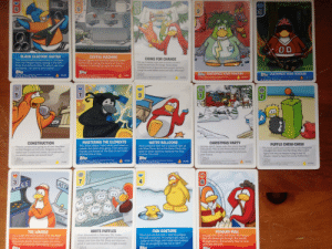 """I was cleaning out my room and I found my old Club Penguin Card-Jitsu cards. Holy shit the nostalgia is real: 5  EST  M!  HILK  WAIER  00  BLACK ELECTRIC CUITAR  COFFEE MACHINE  Secret Agents will find this machine In the  Coffee Shop during the Secret of the Fur  mission, It will help you save the island  COINS FOR CHANGE  This limited edition instrument is available  from the Penguin Style catalog in the Gift  Shop from time to time, To play it, put it on  and dance, Go solo or join a bandl  """"They say it's better to give than to receive and that's  totally true with Coins for Change. There's always  amazing amounts of generosity when penguins decide to  change the world! Waddle around and make a difference!""""  tepAs  Zepps  Tepas  apps CUSTOMIZE YOUR PENGUIN  OPps CUSTOMIZE YOUR PENGUIN  y of The fopps  FOR TRACKNG IO PLEASE SE www rapps.cOM COBE 7  Disney toppsis a registered trademark of The Topps  OR TRACKING NFO, PLEASE SKE WWW TOPPS COM.CODE0389  46/68  4/68  e Dianey. Topps io a registered trademerk of The  Topps Company, Inc A rights reserved  Disney, Topps is a registered trademark of The  Topps Company, inc. All rights reserved  Disney. Topps is a registered tradenark of The Topps  Company, Inc. Al rights reserved  FOR TRACKING INFO, PLEASE SEE WWW.TOPPS.COM CODE 331  66/68  44/68  68/68  7  7  3  7  BAINT  MASTERING THE ELEMENTS  WATER BALLOONS  CHRISTMAS PARTY  CONSTRUCTION  PUFFLE CHEW-CHEW  My black puffie just loves the scratching post  ibought him from the Pet Shop. But I can't  figure out why he keeps trying to eat it!  Maybe I need to feed him some Puffie O's  Fire. Snow. Water. That's what you'll need to  master the Card-Jitsu game. Train with your  friends and Sensei at the Dojo to earn belts  and become a ninja.  Most penguins have had a snowball fight at  the Snow Forts. But at the Water Party, the  splat of water balloons replaced the thud  of snow. To0 cool!  Holiday spirit takes over the island during  this party! This is the Photo Booth in """