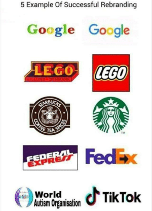 Organisation: 5 Example Of Successful Rebranding  Google Google  LEGO LEGO  TEA  TM  EDE  EXPRERT  FedEx  WoraTkTok  Autism Organisation