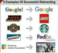 Google, Lego, and American: 5 Examples Of Successful Rebranding  Google!Google  LEGO  Corporation  FORTNITE  American  Autism Association Big if tru