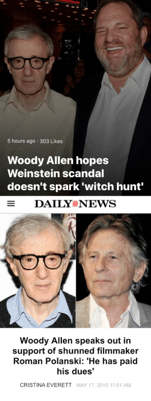 riseofthedruids: losermcjackass: woody allen got a big ass mouth woody allen die bitch : 5 hours ago 303 Likes  Woody Allen hopes  Weinstein scandal  doesn't spark 'witch hunt'   DAILYeNEVS  Woody Allen speaks out in  support of shunned filmmaker  Roman Polanski: 'He has paid  his dues'  CRISTINA EVERETT MAY 17, 2010 11:01 AM riseofthedruids: losermcjackass: woody allen got a big ass mouth woody allen die bitch