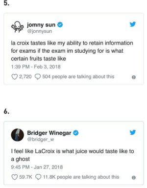 Juice, Ghost, and Information: 5.  jomny sun  @jonnysun  la croix tastes like my ability to retain information  for exams if the exam im studying for is what  certain fruits taste like  1:39 PM - Feb 3, 2018  2,720  504 people are talking about thise  6.  Bridger Winegar  @bridger_W  feel like LaCroix is what juice would taste like to  a ghost  9:45 PM Jan 27, 2018  59.7K  11.8K people are talking about this e