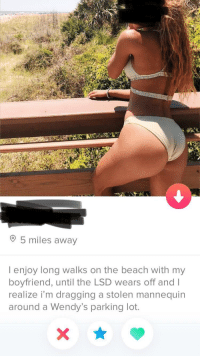 Tinder, Wendys, and Beach: 5 miles away  l enjoy long walks on the beach with my  boyfriend, until the LSD wears off and I  realize i'm dragging a stolen mannequin  around a Wendy's parking lot. Found my new favorite tinder bio